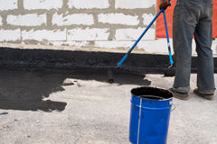 Priming  concrete screed Royalty Free Stock Images