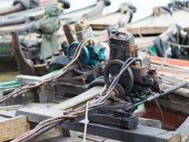 Primitieve bootmotoren in Myanmar Stock Fotografie