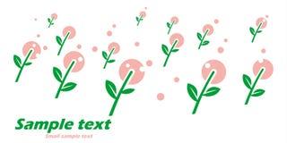 Primitieve prentbriefkaar met de lentebloemen op witte achtergrond Royalty-vrije Stock Foto's
