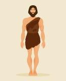 Primitiv man, neanderthal också vektor för coreldrawillustration Royaltyfri Foto