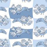 Primitiva teckningsfåglar Sömlös modell för tecknad film med fåglar royaltyfri illustrationer