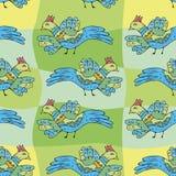 Primitiva teckningsfåglar Sömlös modell för tecknad film med fåglar stock illustrationer