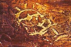 Primitive art, detail. Primitive art, time motive, symbol, painting on canvas Stock Photo