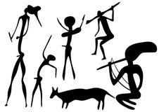 Primitive art - various figures. Primitive figures looks like cave painting - primitive art Royalty Free Stock Photos