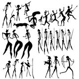 Primitive art - various figures Stock Photos