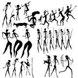 Primitive art - various figures. Primitive figures looks like cave painting - primitive art - vector Stock Photos