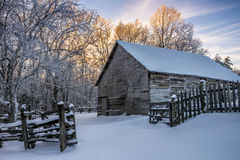 Primitive barn, Winter scenic, Cumberland Gap National Park. Fresh snow and old farm scene in the Hensley Settlement area of The Cumberland Gap National Park Royalty Free Stock Images