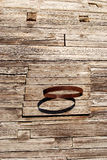Primitive basketball backboard. On the wooden wall Royalty Free Stock Image