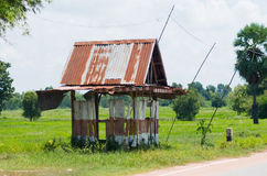 Primitive bus stop shelter in Thailand Stock Photo