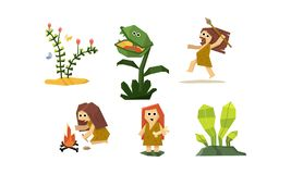 Primitive cave people set, cute geometric prehistoric neanderthal man and woman, carnivorous plant vector Illustration. Isolated on a white background royalty free illustration