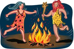 Primitive couple dancing around the fire. Primitive couple dancing around the fire  in vector Stock Photo