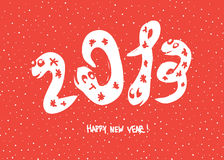 Primitive doodle drawings of 2013. Snake year. Vector background, EPS 8 Stock Images