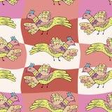 Primitive drawing birds. Cartoon seamless pattern with birds Stock Photo