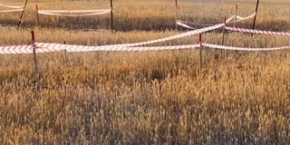 Primitive fencing. And tape on a wheat field. photo in the summer. The design prevents firing in the pit in the center of the field Stock Photography