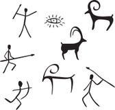 Primitive figures looks like cave painting stock illustration