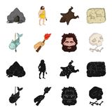 Primitive, fish, spear, torch .Stone age set collection icons in black,cartoon style vector symbol stock illustration.  Royalty Free Stock Image