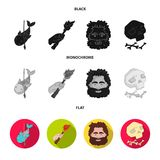 Primitive, fish, spear, torch .Stone age set collection icons in black, flat, monochrome style vector symbol stock. Illustration Royalty Free Stock Image