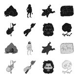 Primitive, fish, spear, torch .Stone age set collection icons in black,monochrome style vector symbol stock illustration.  Stock Photo