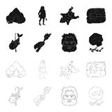 Primitive, fish, spear, torch .Stone age set collection icons in black,outline style vector symbol stock illustration.  Stock Images