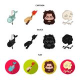 Primitive, fish, spear, torch .Stone age set collection icons in cartoon,black,flat style vector symbol stock. Illustration Royalty Free Stock Photography