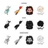 Primitive, fish, spear, torch .Stone age set collection icons in cartoon,black,monochrome style vector symbol stock. Illustration Stock Photography