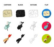 Primitive, fish, spear, torch .Stone age set collection icons in cartoon,black,outline,flat style vector symbol stock. Illustration Royalty Free Stock Photos