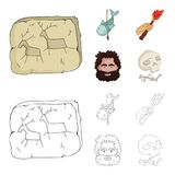 Primitive, fish, spear, torch .Stone age set collection icons in cartoon,outline style vector symbol stock illustration.  Royalty Free Stock Photography