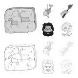 Primitive, fish, spear, torch .Stone age set collection icons in outline,monochrome style vector symbol stock. Illustration Royalty Free Stock Photography