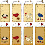 Primitive Folk Art Birds Gift Tag Set Stock Photos