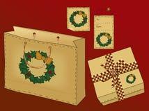 Primitive Folk Art Gift Set vector illustration