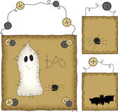 Primitive Folk Art Halloween Set Royalty Free Stock Photos