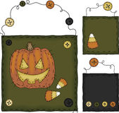 Primitive Folk Art Halloween Set Stock Photography