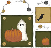 Primitive Folk Art Halloween Set Royalty Free Stock Photo