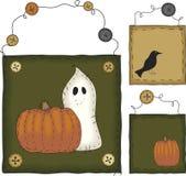 Primitive Folk Art Halloween Set stock illustration