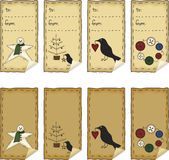 Primitive Folk Art Sticker Set Royalty Free Stock Photo