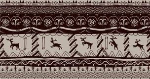 Primitive. Folk scandinavic border seamless pattern stock illustration