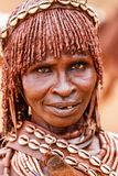 Primitive Hamar Lady in Omo Valley in Ethiopia stock image