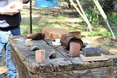 Homemade scrub brushes. Primitive  scrub Brushes made from Cabbage Palm at the Knap In Prehistoric Arts Festival in Ocala, Florida on Feb 22, 2016 Stock Photos