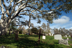 Primitive Headstones Rural Cemetery Wood Marker Stock Image
