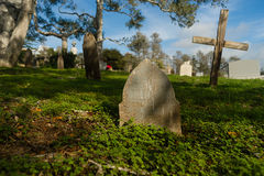 Primitive Headstones Rural Cemetery Wood Marker Royalty Free Stock Image