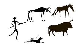 Primitive herd. Primitive image of animals and man like images on walls of caves Stock Photos