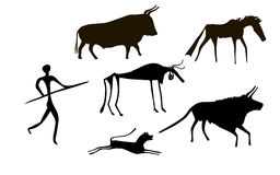 Primitive herd. Primitive image of animals and man like images on walls of caves Royalty Free Stock Photos