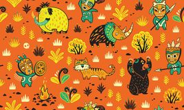 Hunting prehistoric people on ancient animals seamless pattern in cartoon style. Vector illustration. Primitive hunting vector illustration. Cavemans hunts a Royalty Free Stock Image