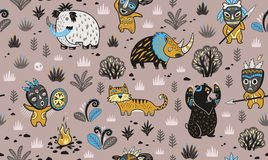 Hunting prehistoric people on ancient animals seamless pattern in cartoon style. Vector illustration. Primitive hunting in vector illustration. Stone Age Royalty Free Stock Photography