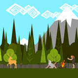 Primitive hunting in the woods flat style vector. Primitive hunting in the woods flat style royalty free illustration