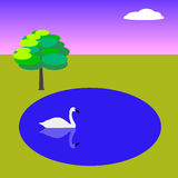Primitive landscape with swan. Primitive vector landscape with lake, swan and tree Royalty Free Stock Photos