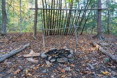 Free Primitive Lean To Shelter With Campfire  Survival Bushcraft Setup In The Blue Ridge Mountains Near Asheville. During Stock Photography - 163489622