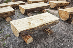 Primitive log benches, Stock Photos