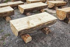 Primitive log benches,. Cedar Breaks National Monument, Utah Stock Photos