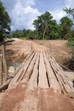 Primitive Log Bridge On Dirt Road stock image